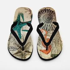 nautical seashells beach decor Flip Flops