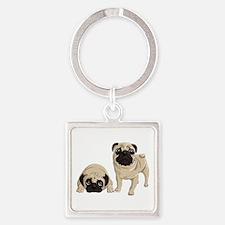 Pugs Square Keychain