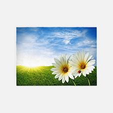 Daisy Flowers Floral 5'x7'Area Rug