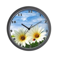 Daisy Flowers Floral Wall Clock