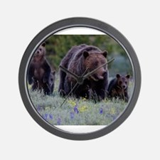 MAMMA GRIZZLY and 3 CUBS Wall Clock