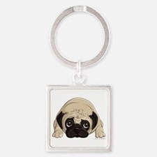 Pug Square Keychain