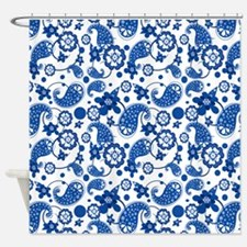Dazzling Blue Paisley Pattern Shower Curtain