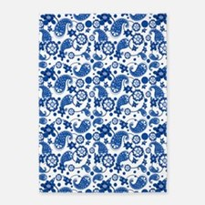 Dazzling Blue Paisley Pattern 5'x7'Area Rug