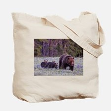 Grizzly Bear 399 her Triplet Cubs Tote Bag
