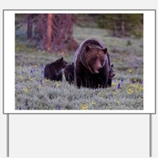 Grizzly Bear 399 her Triplet Cubs Yard Sign