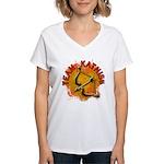 Team Katniss Catching Fire Women's V-Neck T-Shirt