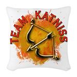 Team Katniss Catching Fire Woven Throw Pillow