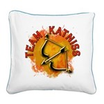 Team Katniss Catching Fire Square Canvas Pillow