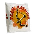 Team Katniss Catching Fire Burlap Throw Pillow