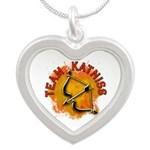 Team Katniss Catching Fire Silver Heart Necklace