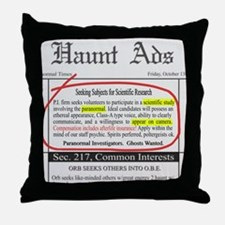 Haunt Ads: Ghosts Wanted Throw Pillow