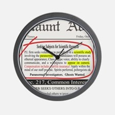 Haunt Ads: Ghosts Wanted Wall Clock