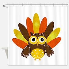 Thanksgiving Owl Shower Curtain