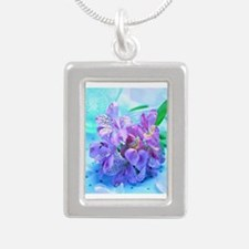 Orchid Flowers Floral Silver Portrait Necklace