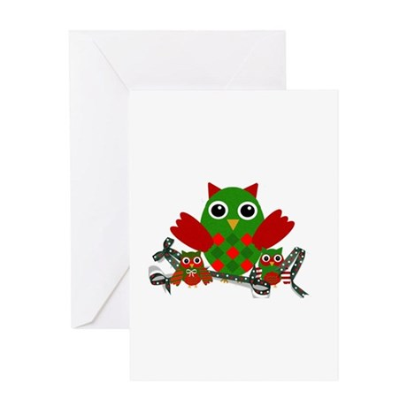 Owls Decorating for Christmas Greeting Cards