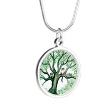 Cheris Moms Cats squared Silver Round Necklace