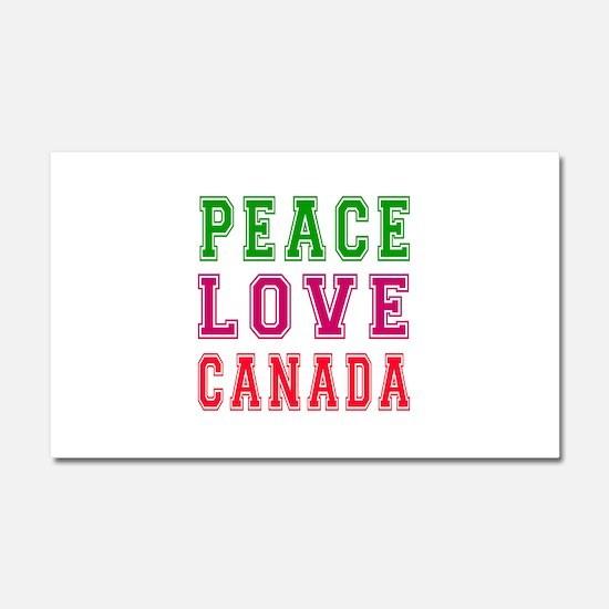 Peace Love Canada Car Magnet 20 x 12