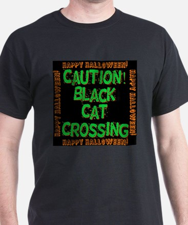 Caution Black Cat Crossing T-Shirt