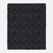 Black/Gray Damask Throw Blanket