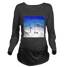 Penguins Meet Santa! Long Sleeve Maternity T-Shirt