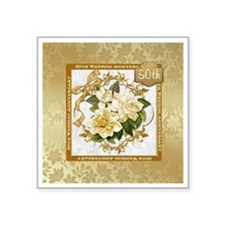 Floral Gold 50th Wedding A Square Sticker 3""