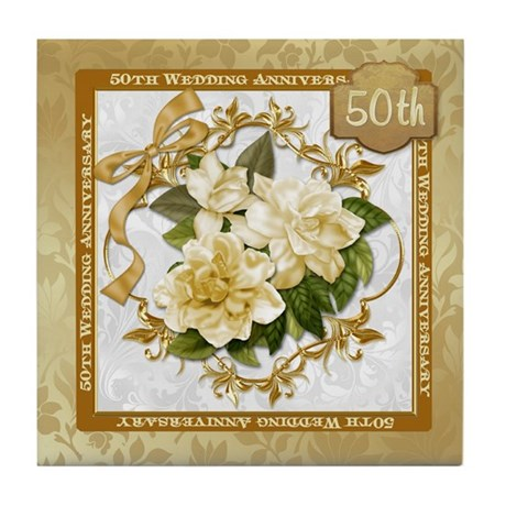 Floral Gold 50th Wedding Anniversary Tile Coaster