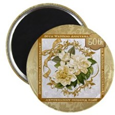 Floral Gold 50th Wedding Anniversary Magnet