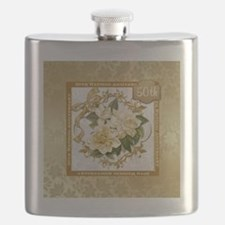 Floral Gold 50th Wedding Anniversary Flask