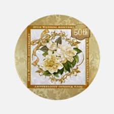 """Floral Gold 50th Wedding Anniversary 3.5"""" But"""