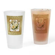 Floral Gold 50th Wedding Anniversa Drinking Glass