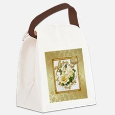 Floral Gold 50th Wedding Anniver Canvas Lunch Bag