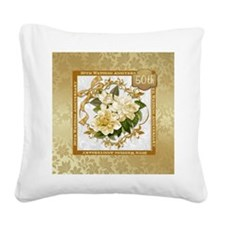 Floral Gold 50th Wedding Ann Square Canvas Pillow
