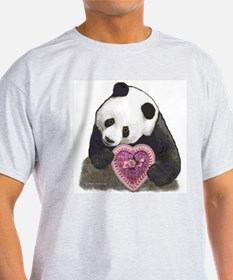 """""""Panda with a Heart for you"""" Ash Grey T-Shirt"""