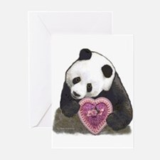"""""""Panda with a Heart for you"""" Greeting Cards (Packa"""