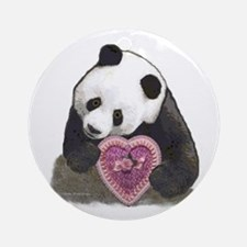 """""""Panda with a Heart for you"""" Ornament (Round)"""