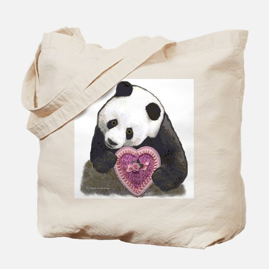 """Panda with a Heart for you"" Tote Bag"