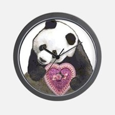 """""""Panda with a Heart for you"""" Wall Clock"""