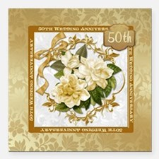 Floral Gold 50th WeddingSquare Car Magnet 3""