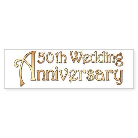 Typography Golden Wedding Anniver Sticker (Bumper)