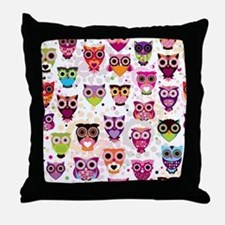 Colorful Owls  Throw Pillow
