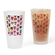 Colorful Owls  Drinking Glass