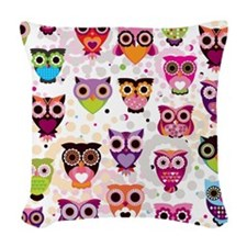 Colorful Owls  Woven Throw Pillow