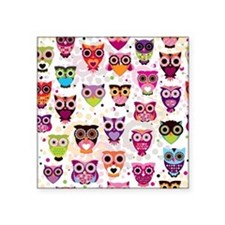 "Colorful Owls  Square Sticker 3"" x 3"""