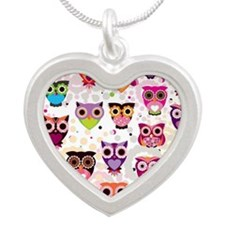 Colorful Owls  Silver Heart Necklace