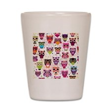 Colorful Owls  Shot Glass