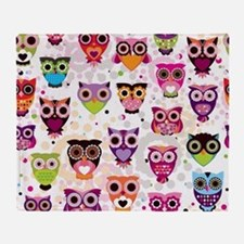 Colorful Owls  Throw Blanket