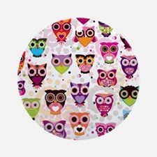 Colorful Owls  Round Ornament