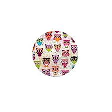 Colorful Owls  Mini Button