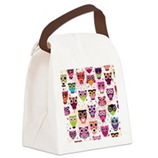 Colorful Owls  Canvas Lunch Bag